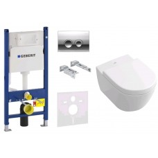 Комплект инсталляция Geberit 458.161.21.1 с унитазом Villeroy and Boch Subway 2.0 DirectFlush 5614R001 Soft-Close