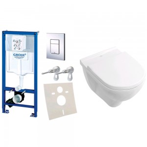Комплект инсталляция Grohe Rapid SL 38772001 с унитазом Villeroy and Boch O.Novo DirectFlush 5660HR01 Soft-Close